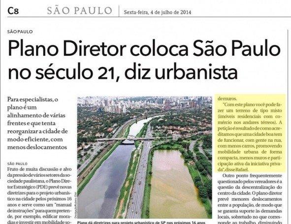 Plano diretor coloca São Paulo no século 21, diz urbanista